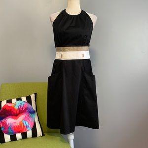 Calvin Klein Black Striped Halter Flared Dress